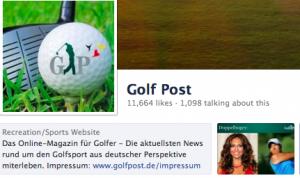 Facebook Seite von Golf Post